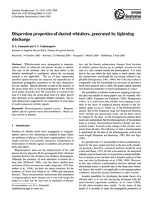 Dispersion Properties of Ducted Whistler... by Pasmanik, D. L.