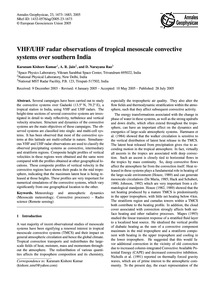 Vhf/Uhf Radar Observations of Tropical M... by Kishore Kumar, K.