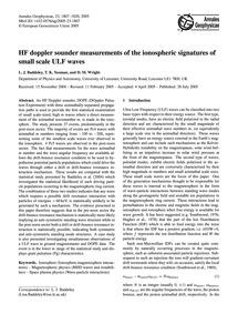 Hf Doppler Sounder Measurements of the I... by Baddeley, L. J.