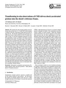 Transforming In-situ Observations of Cme... by Robinson, I. M.
