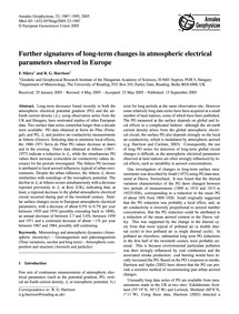 Further Signatures of Long-term Changes ... by Märcz, F.
