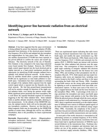 Identifying Power Line Harmonic Radiatio... by Werner, S. M.