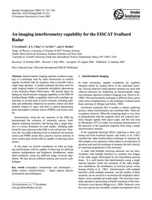 An Imaging Interferometry Capability for... by Grydeland, T.