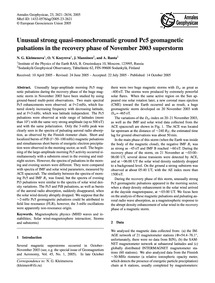 Unusual Strong Quasi-monochromatic Groun... by Kleimenova, N. G.