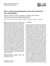 Imf BY and the Seasonal Dependences of t... by Matsui, H.