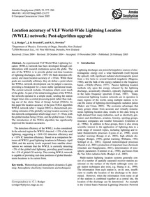 Location Accuracy of Vlf World-wide Ligh... by Rodger, C. J.