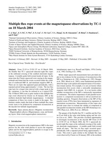 Multiple Flux Rope Events at the Magneto... by Xiao, C. J.