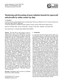Monitoring and Forecasting of Great Radi... by Dorman, L. I.