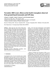 November 2003 Event: Effects on the Eart... by Blanch, E.