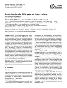 Retrieving the Solar Euv Spectrum from a... by De Wit, T. Dudok
