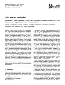 Solar Weather Monitoring : Volume 23, Is... by Hochedez, J.-f.