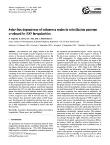 Solar Flux Dependence of Coherence Scale... by Engavale, B.