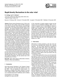 Rapid Density Fluctuations in the Solar ... by Kellogg, P. J.