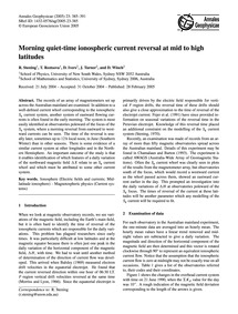 Morning Quiet-time Ionospheric Current R... by Stening, R.