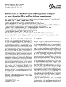 Simultaneous In-situ Observations of the... by Wild, J. A.