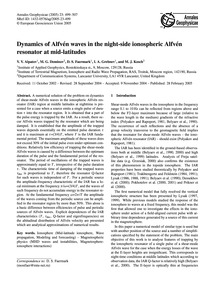 Dynamics of Alfvén Waves in the Night-si... by Alpatov, V. V.