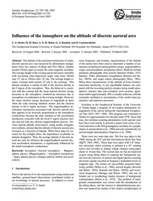 Influence of the Ionosphere on the Altit... by Deehr, C. S.