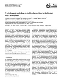 Prediction and Modelling of Doubly-charg... by Simon, C.