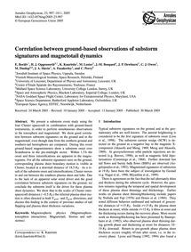 Correlation Between Ground-based Observa... by Borälv, E.