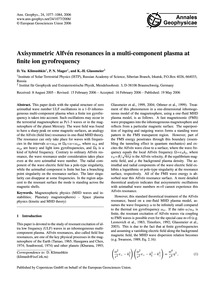 Axisymmetric Alfvén Resonances in a Mult... by Klimushkin, D. Yu.