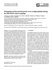 Propagation of Short-period Gravity Wave... by Nielsen, K.