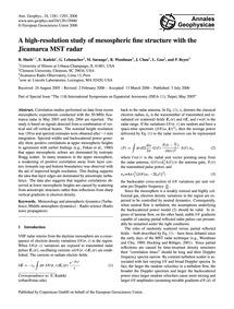 A High-resolution Study of Mesospheric F... by Sheth, R.