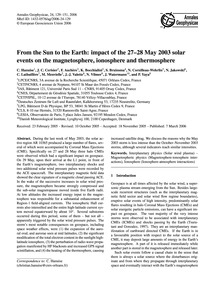 From the Sun to the Earth: Impact of the... by Hanuise, C.