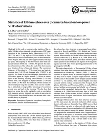 Statistics of 150-km Echoes Over Jicamar... by Chau, J. L.