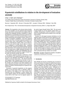 Equatorial Scintillations in Relation to... by Ray, S.