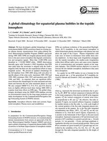 A Global Climatology for Equatorial Plas... by Gentile, L. C.