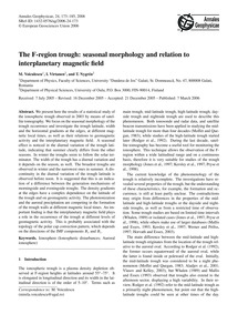 The F-region Trough: Seasonal Morphology... by Voiculescu, M.