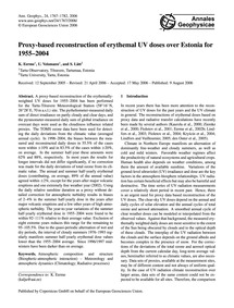 Proxy-based Reconstruction of Erythemal ... by Eerme, K.
