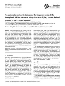 An Automatic Method to Determine the Fre... by Odzimek, A.