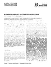 Magnetosonic Resonance in a Dipole-like ... by Leonovich, A. S.