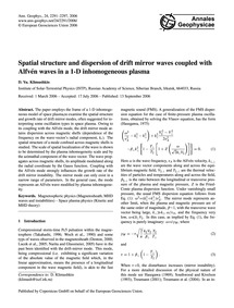 Spatial Structure and Dispersion of Drif... by Klimushkin, D. Yu.