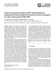 Temporal and Spatial Variations in Tec U... by Rama Rao, P. V. S.