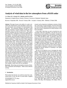 Analysis of Wind Data in the Low Atmosph... by Pérez, I. A.