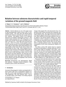Relation Between Substorm Characteristic... by Viljanen, A.