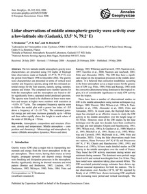 Lidar Observations of Middle Atmospheric... by Sivakumar, V.