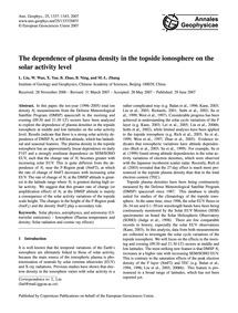 The Dependence of Plasma Density in the ... by Liu, L.