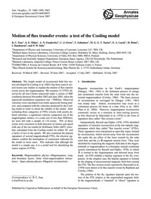 Motion of Flux Transfer Events: a Test o... by Fear, R. C.