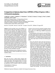 Comparison of Plasma Data from Aspera-3/... by Bößwetter, A.