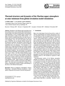 Thermal Structure and Dynamics of the Ma... by Moffat-griffin, T.
