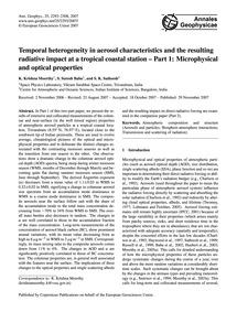 Temporal Heterogeneity in Aerosol Charac... by Krishna Moorthy, K.