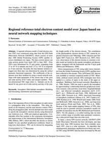 Regional Reference Total Electron Conten... by Maruyama, T.