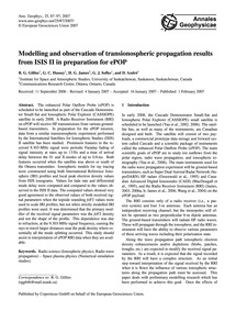 Modelling and Observation of Transionosp... by Gillies, R. G.