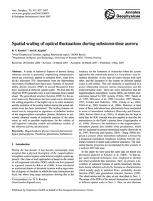 Spatial Scaling of Optical Fluctuations ... by Kozelov, B. V.
