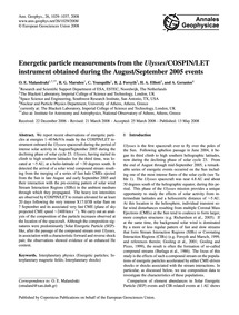 Energetic Particle Measurements from the... by Malandraki, O. E.