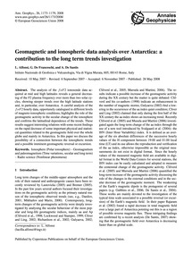 Geomagnetic and Ionospheric Data Analysi... by Alfonsi, L.