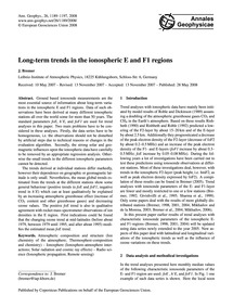 Long-term Trends in the Ionospheric E an... by Bremer, J.